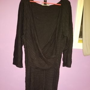 Ashley Stewart black faux wrap sweater dress